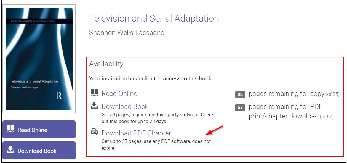 Availability information shows access information including Read Online, Download Book and Download PDF Chapter up to 57 pages, does not expire.