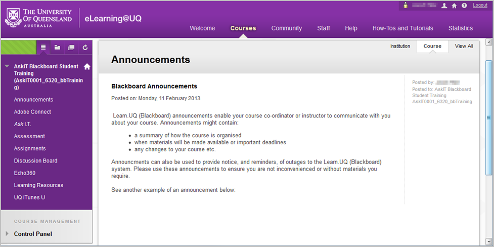 The Announcements page of a Learn.UQ course.