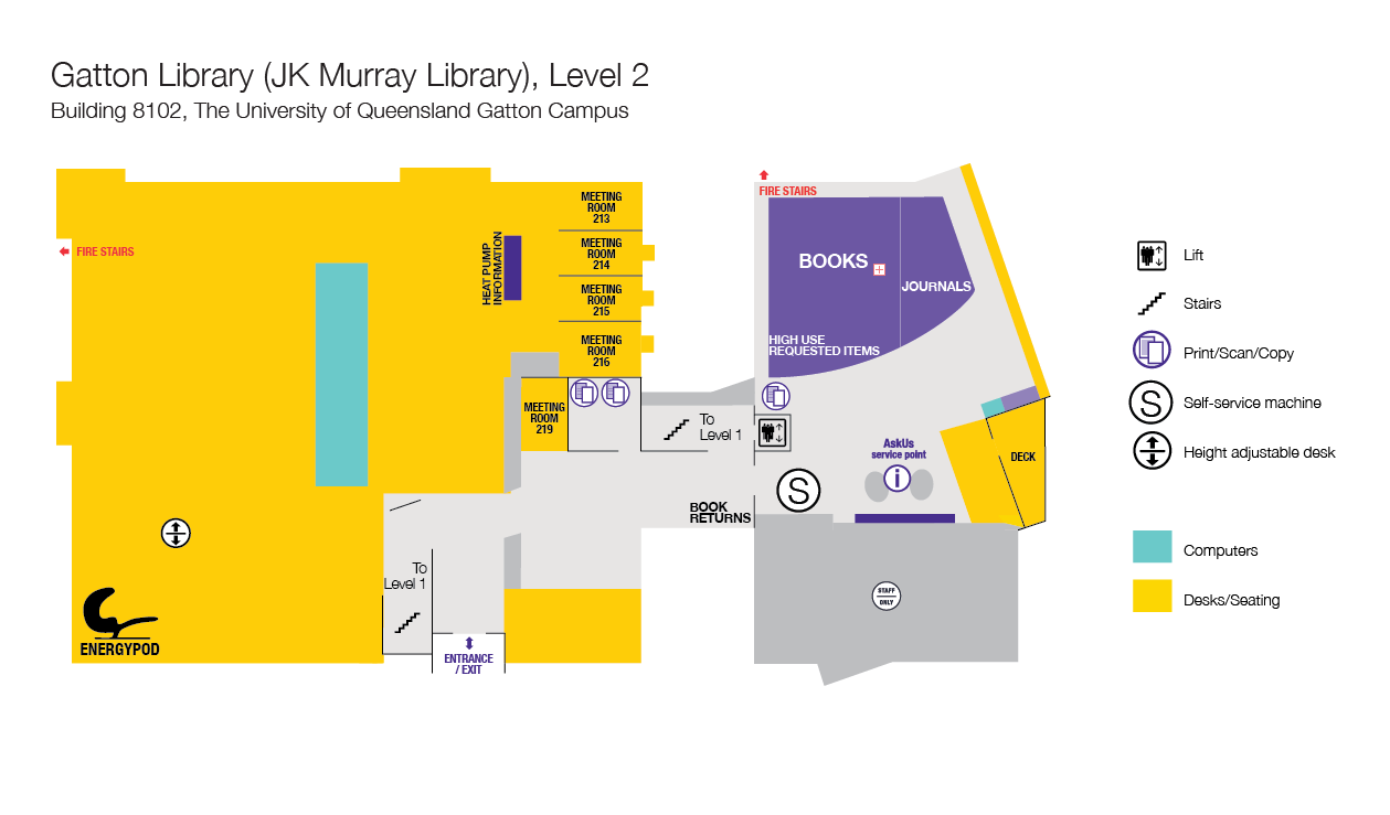 Level 2 floor plan, Gatton Library.