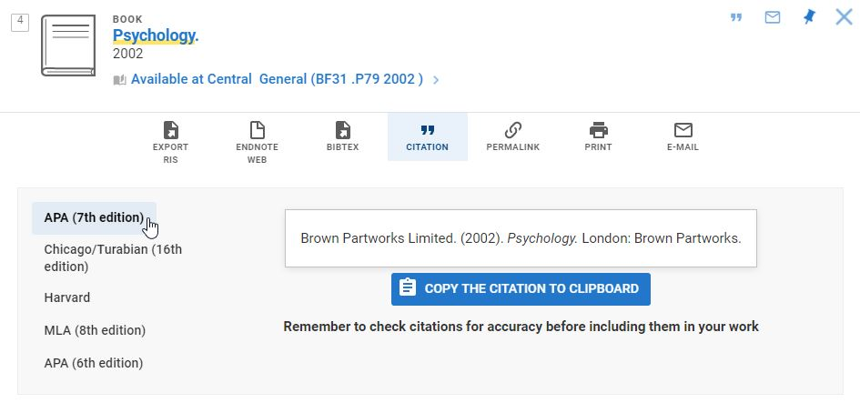 Library Search result, citation button pressed and citation styles on screen. Description below.