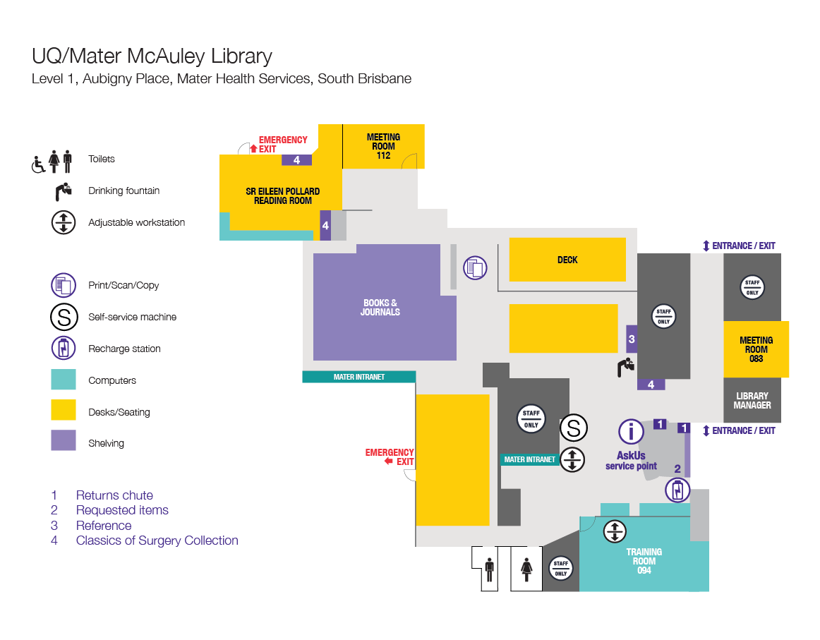 Mater McAuley Library floor plan