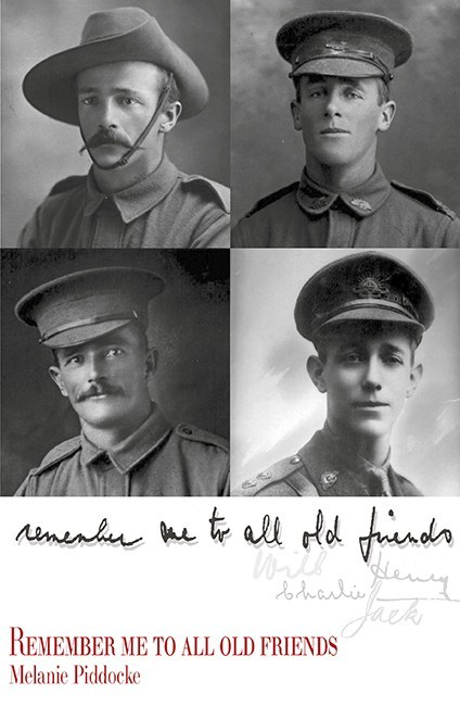 Front cover of 'Remember me to all old friends' showing photographs of Fryer family members in military uniforms