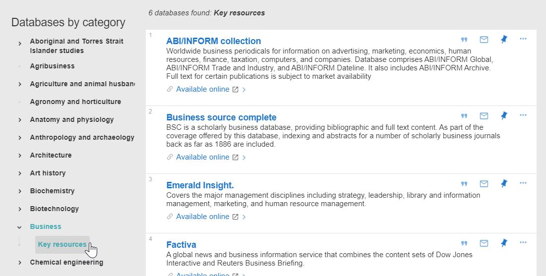 database results filtered by Business category and Key resources subcategory.