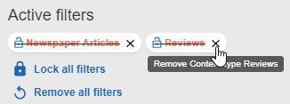 Remove one active filter by X