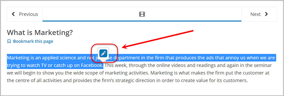highlighted text, then pencil icon selected