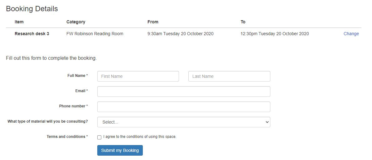 Booking system showing form asking for name, email address and phone number. There is a drop down box asking what type of material you will be consulting, and a check box confirming agreement to terms and conditions.