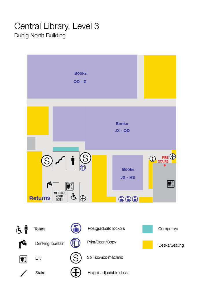 Floorplan of level three Central Library. Description below.