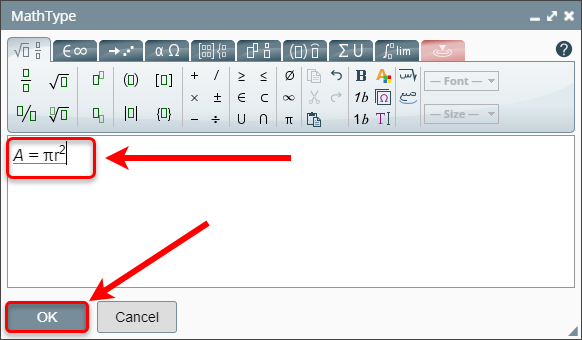 Equation editor and OK button circled.
