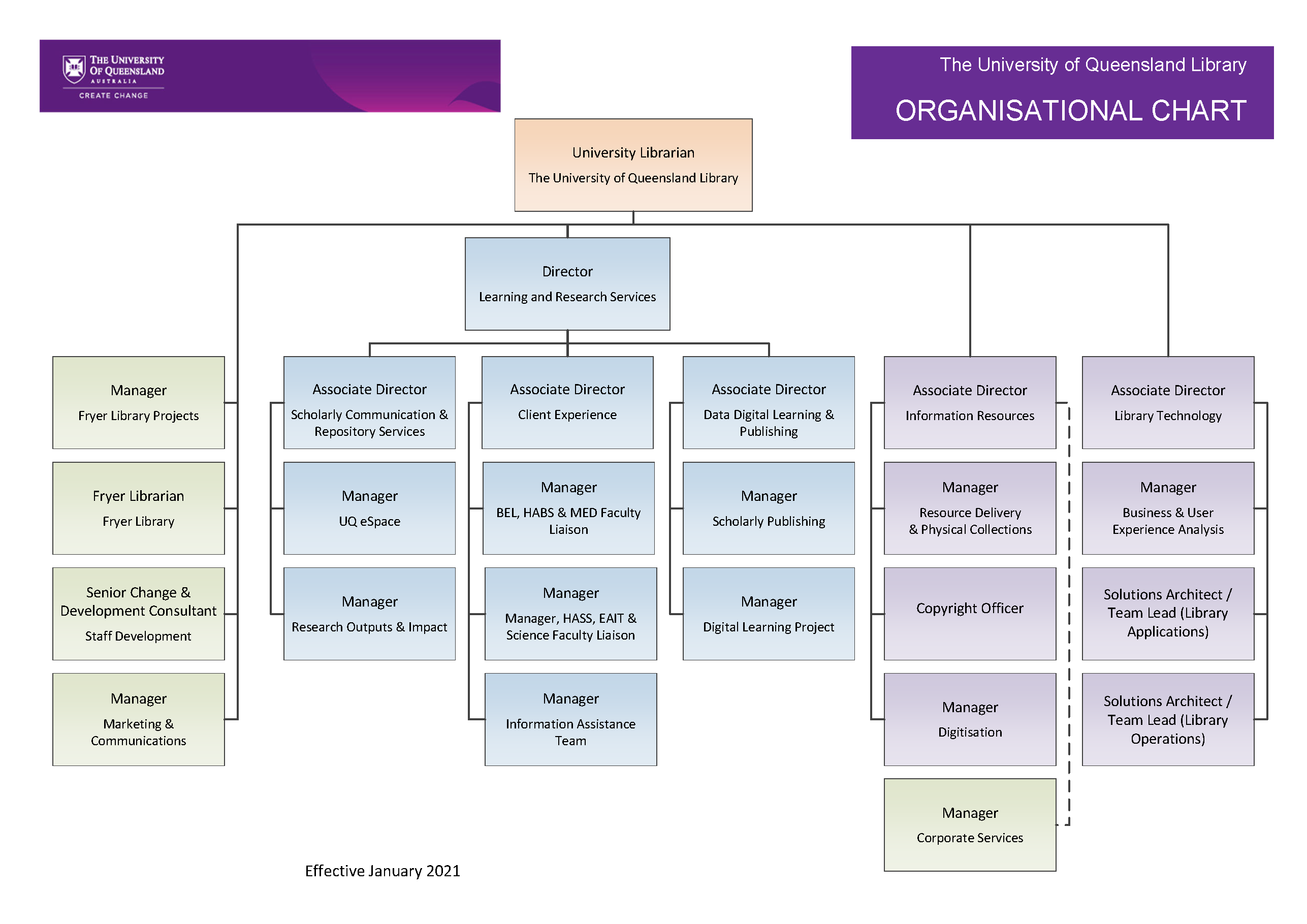 Organisational chart, library management. Accessible version below on this page.