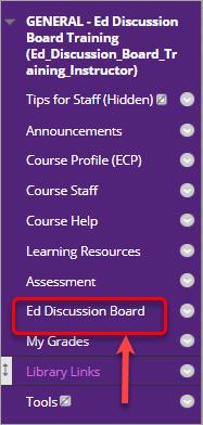 Learn.UQ Blackboard course menu. Ed Discussion Board label highlighted.