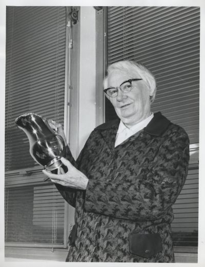 Dorothy Hill with Queenslander of the Year Award, 1972. The University of Queensland, Fryer Library