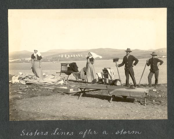 Photograph of beach captioned 'Sisters lines after a storm'
