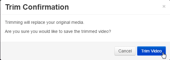 Clicking the trim video button