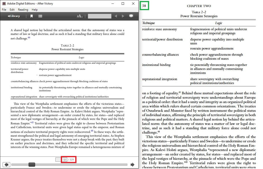 The same page in an EPUB file and a PDF file. The published page number is 'printed' in the PDF.