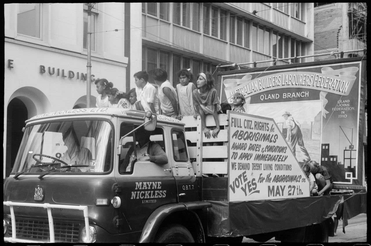 Photo of Aboriginal children campaigning for a 'Yes Vote', 1 May 1967