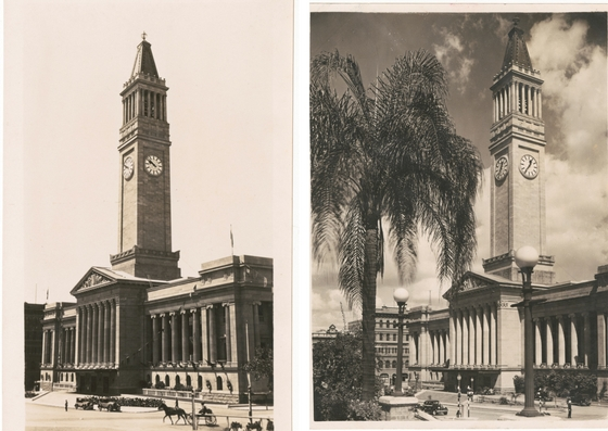 Two view of Brisbane City Hall taken in the 1930s
