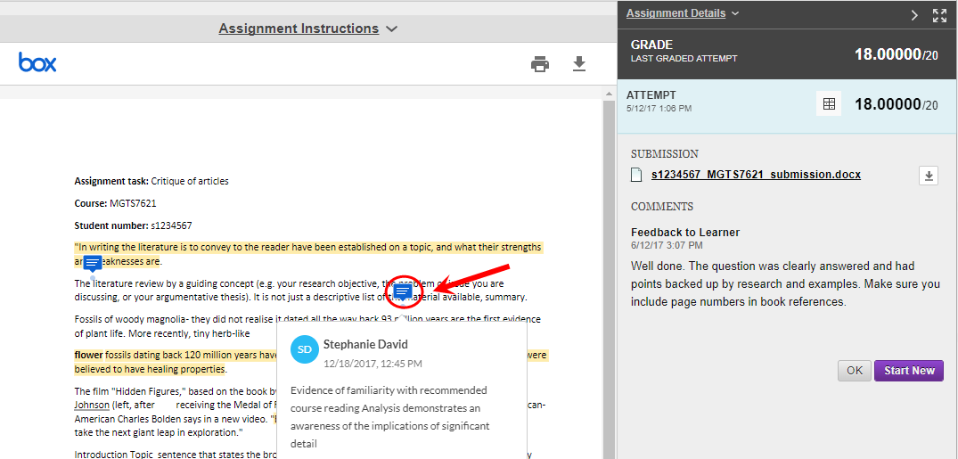 Click on the individual comments to view them on your assignment page