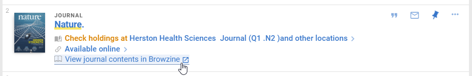 Link to Browzine in UQ Library Journal Search result.