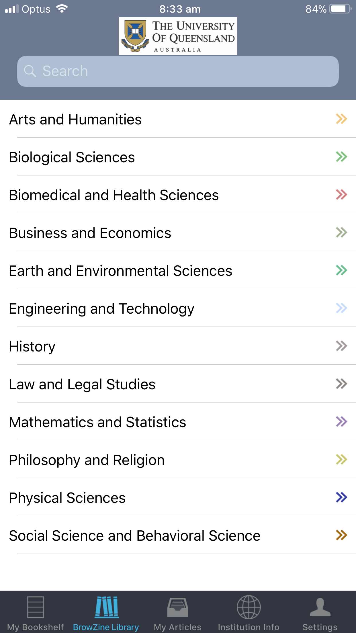 List of subjects in Browzine app.