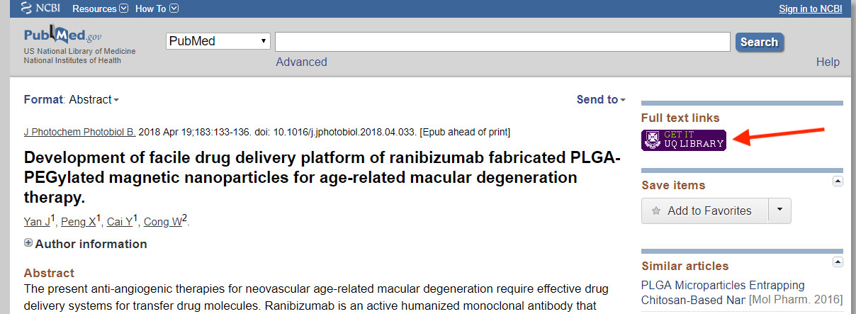 PubMed article with purple Get it UQ Library button.