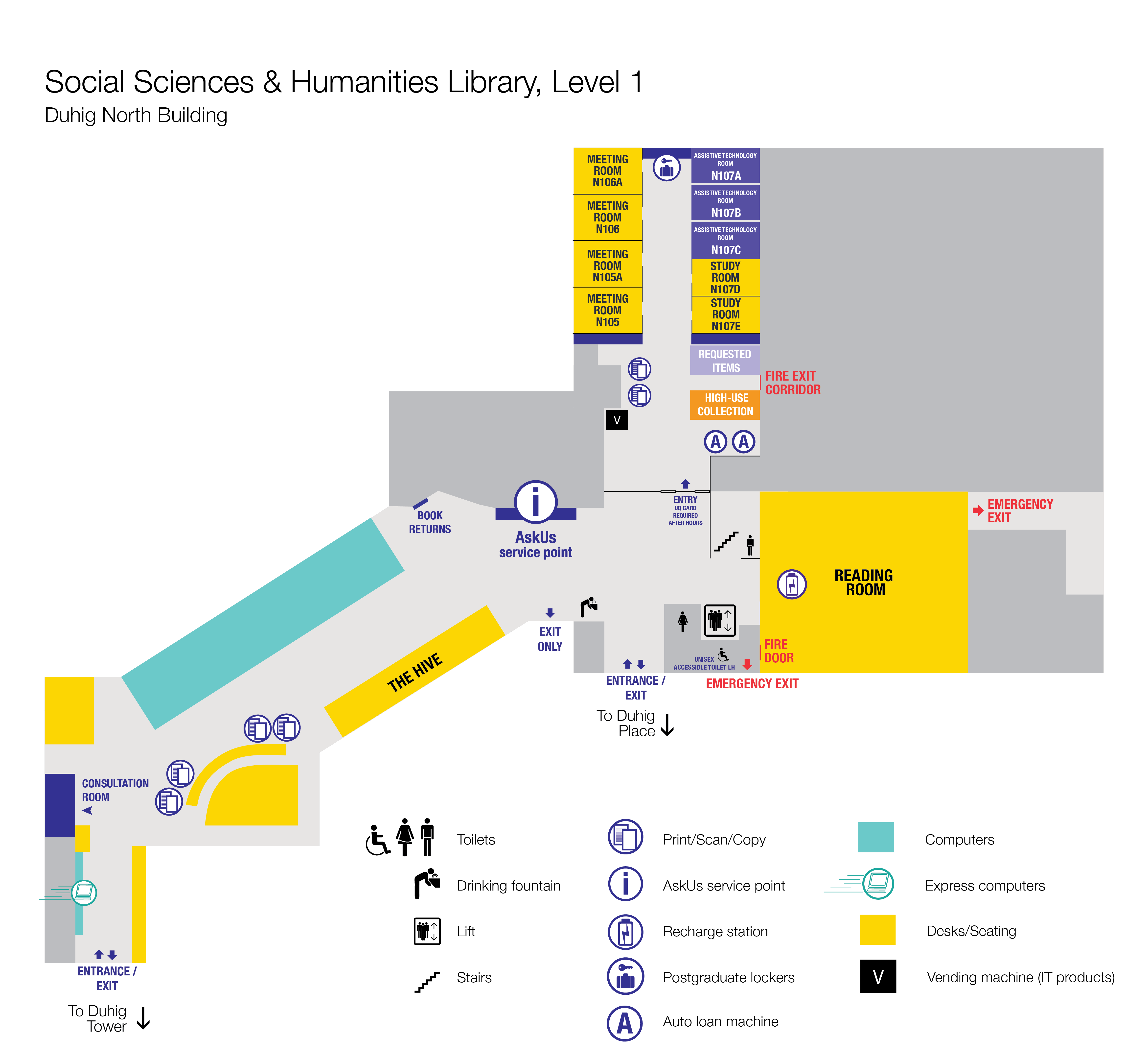 Level 1 Floor plan, Social Sciences and Humanities Library