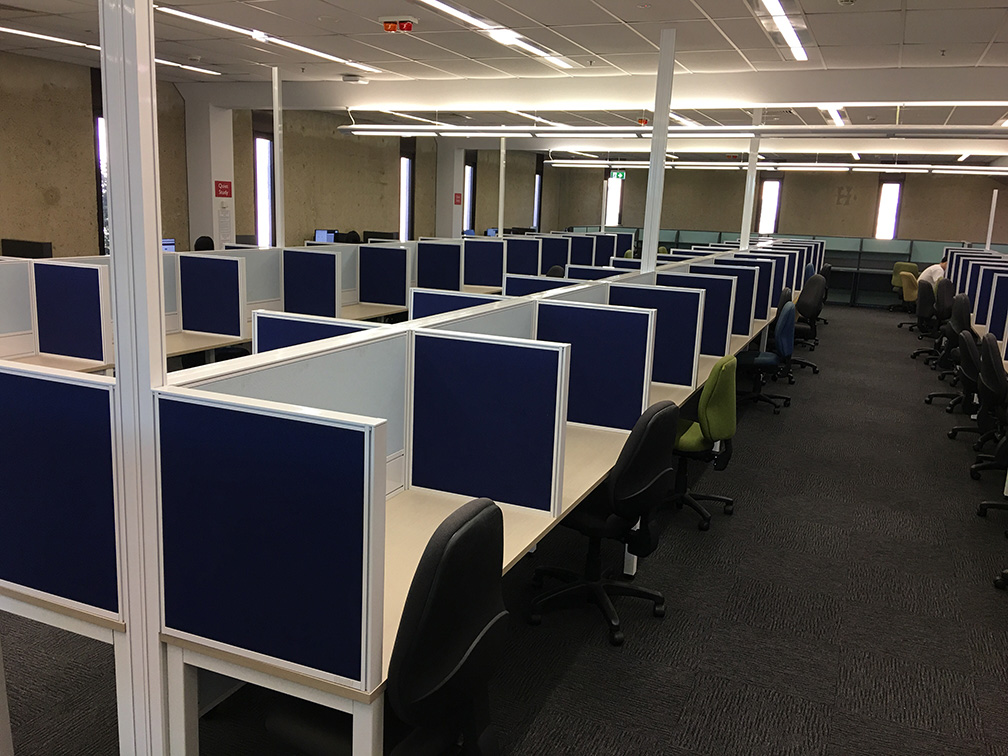 Powered study desks, level 4, Biological Sciences Library.