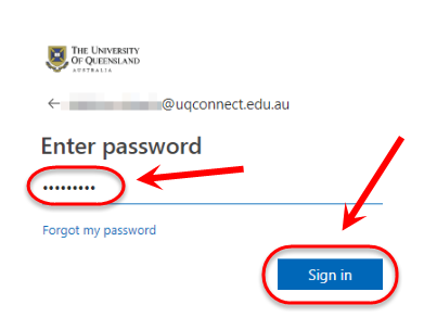 the password text field and sign in button are highlighted
