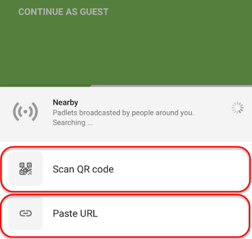 the scan QR code and paste URL options are highlighted