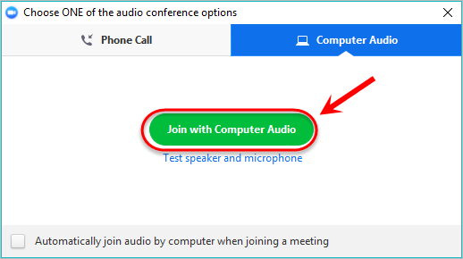 the join with computer audio button is highlighted