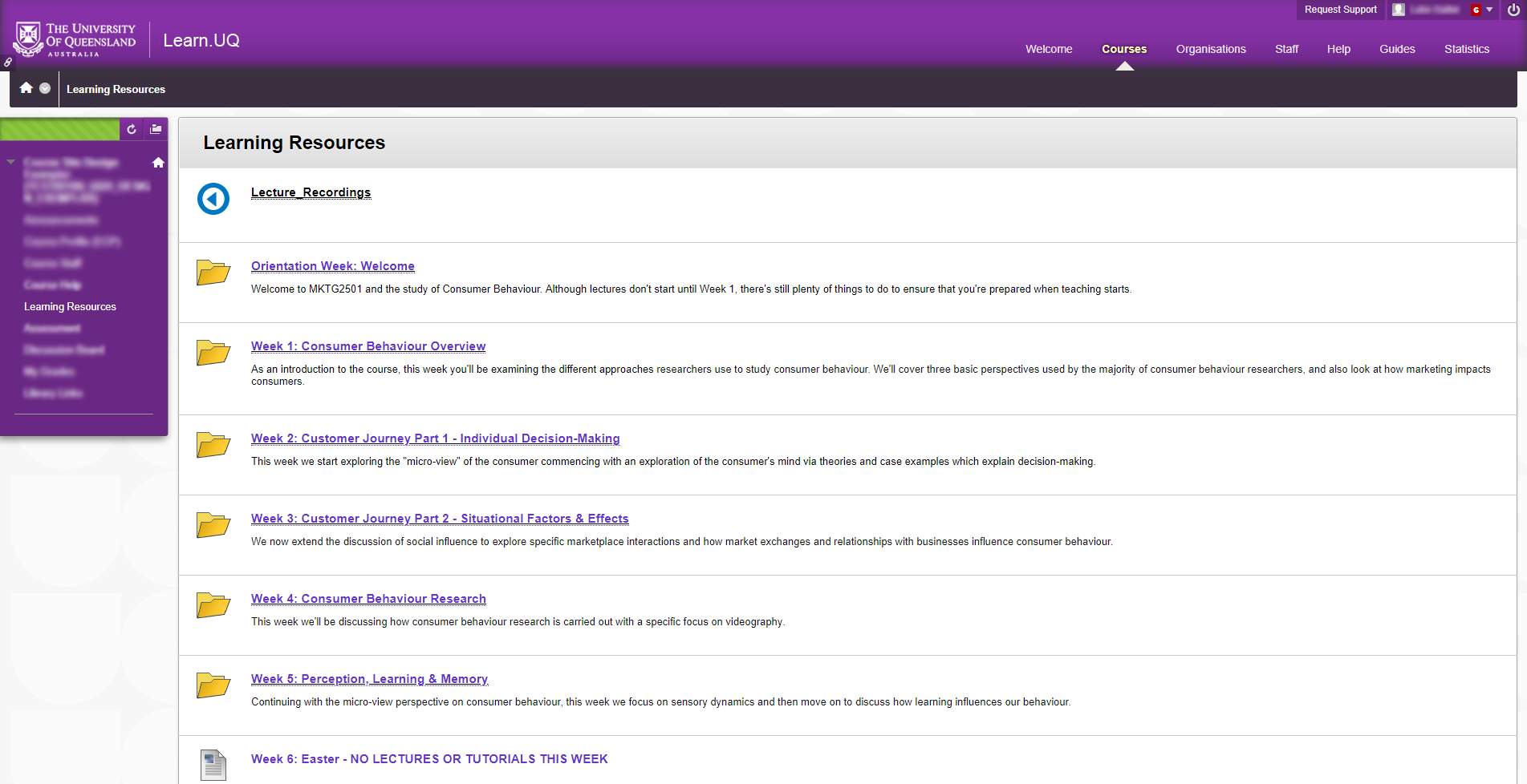 Screenshot of Learning Resources screen