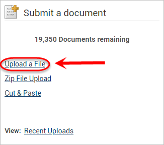 the upload a file link is highlighted
