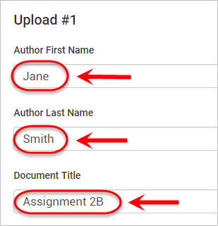 the first name, last name and title are highlighted