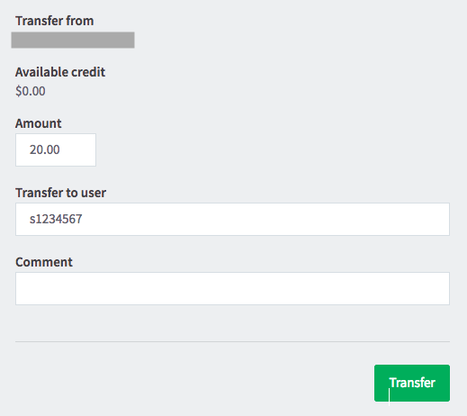 Trasnfer print credit interface