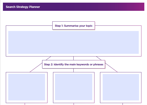 Screenshot of search strategy planner with link to download