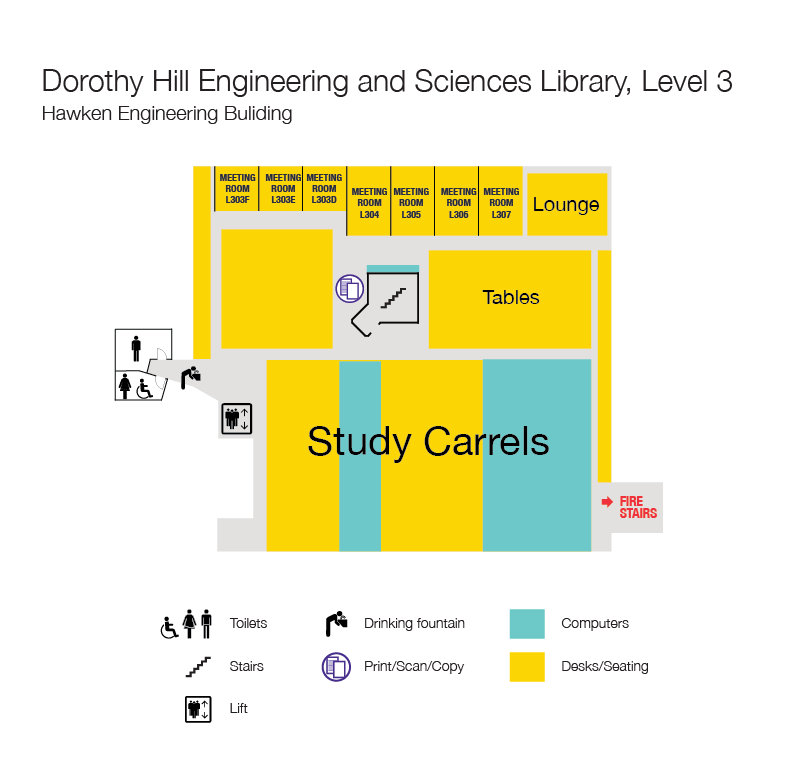 Level 3 floor plan, Dorothy Hill Engineering and Sciences Library