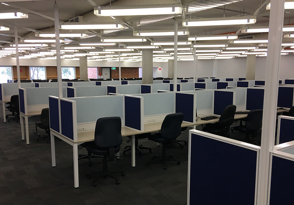 Individual powered study spots, Level 3, Dorothy Hill Engineering and Sciences Library.
