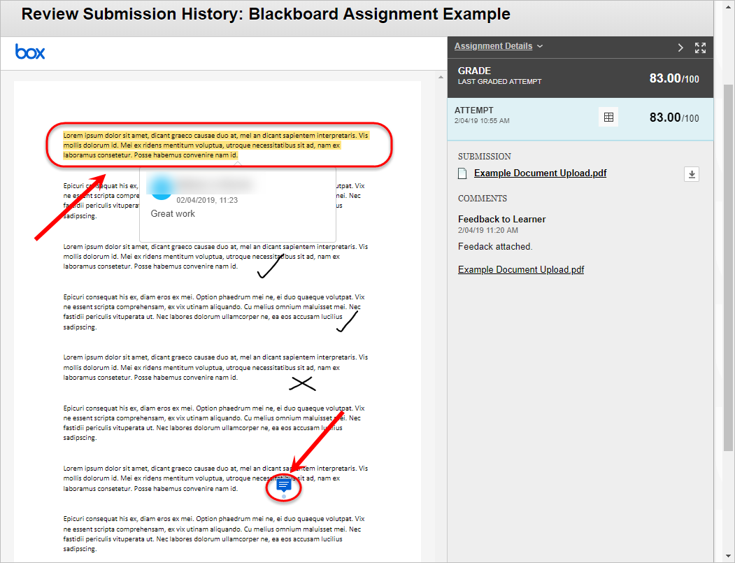 Assignment viewer with highlighted text circled and speech bubble icon.