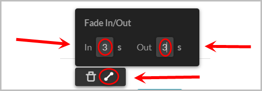 fade in and fade out icon and typing in the seconds for fade duration