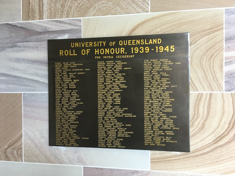 University of Queensland Roll of Honour 1939 to 1945