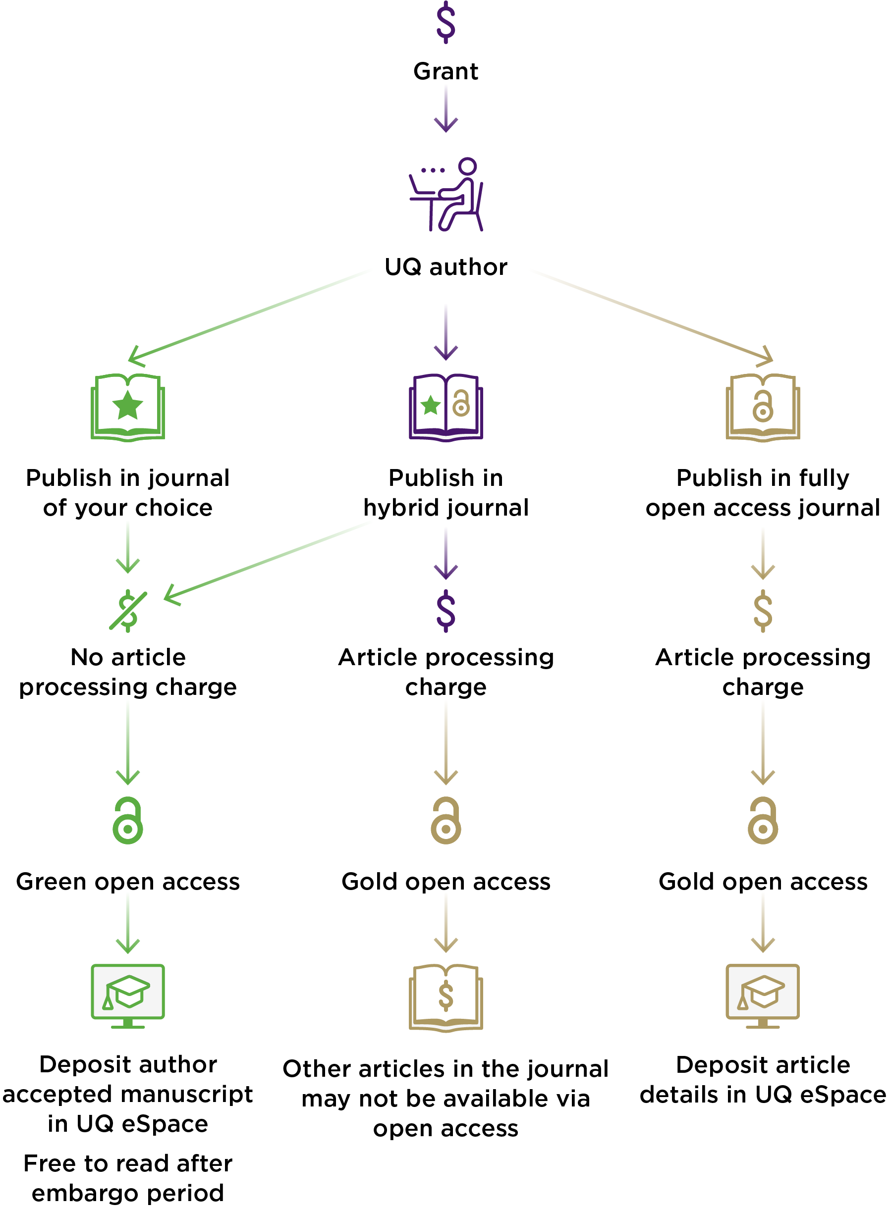 Diagram of different open access alternatives, illustrating the previous text.