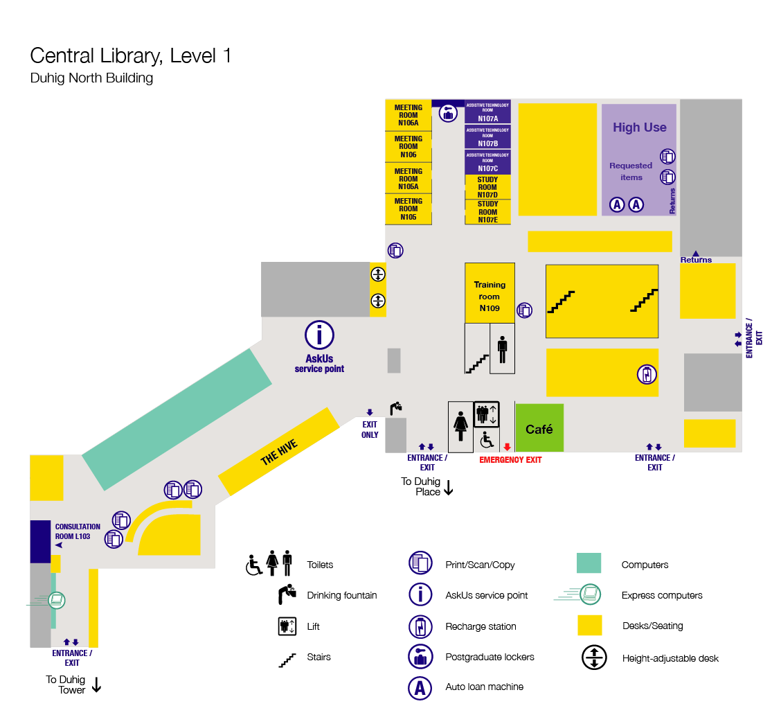 Floor plan, level 1, Central Library.