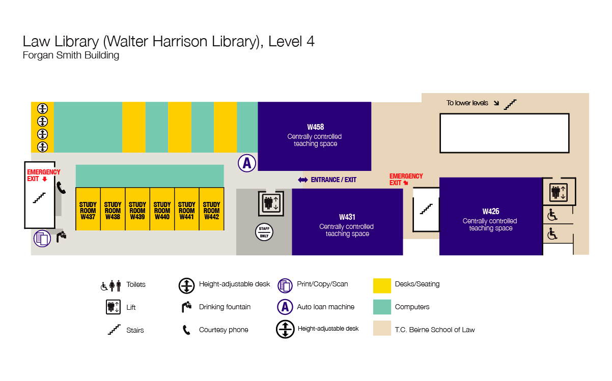 Walter Harrison Law Library, floor plan, level 4
