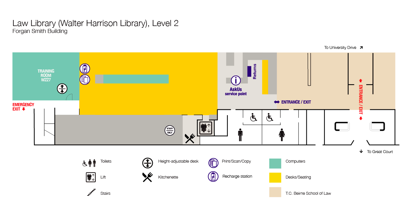Walter Harrison Law Library, floor plan, level 2