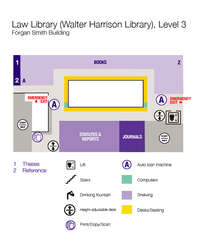 Walter Harrison Law Library, floor plan, level 3