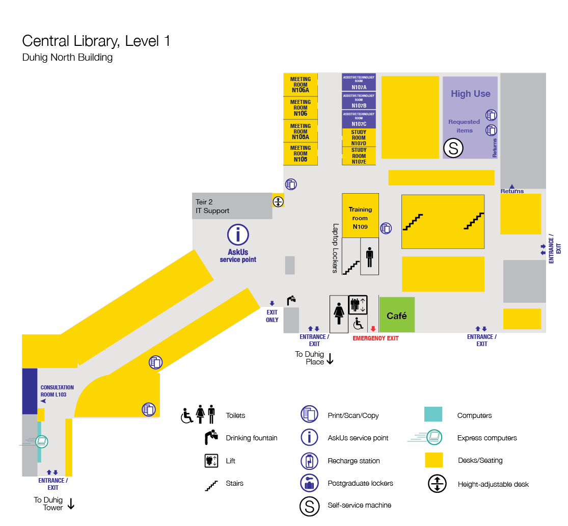 Level 1 Floor plan, Central Library