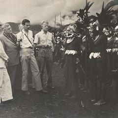 Colonel JK Murray, Edward Hallstrom, Colin Simpson, Neptune Blood, and Wahgi men, Hallstrom Livestock and Fauna Trust Station, Nondugl, April 1949