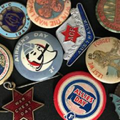 First and Second World War badges from Australian fundraising groups