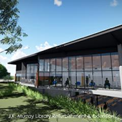 Architect's concept drawing of the external perspective of the new Gatton Library extension