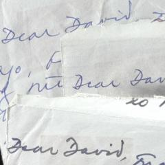 Close up of letters addressed 'Dear David'