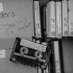 A box of cassette tapes from Kay Saunders collection UQFL330